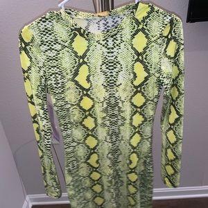 Neon snake skin dress